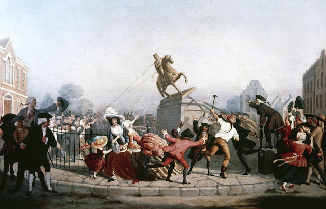 Painting of the toppling of the statue of George III on July 9, 1776