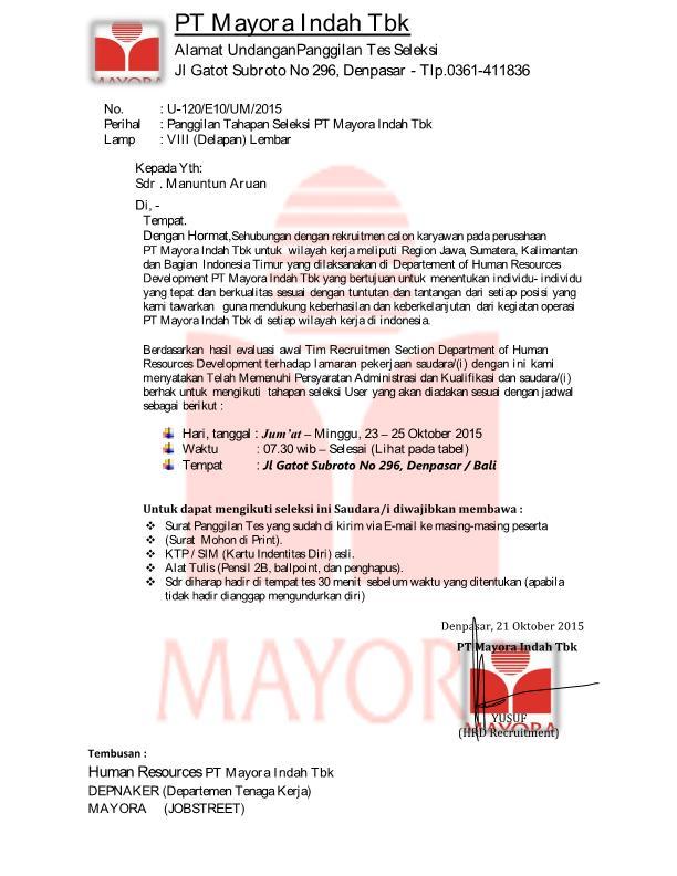Contoh Surat Lamaran Kerja Untuk Pt Mayora