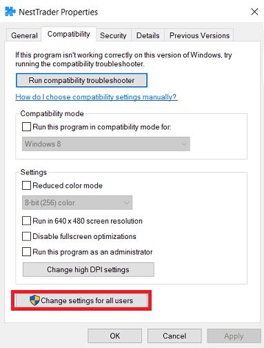 windows compatibility settings