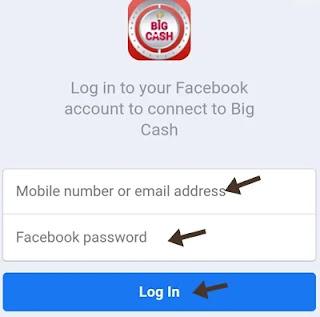 Facebook id password enter kar log in par click kare1