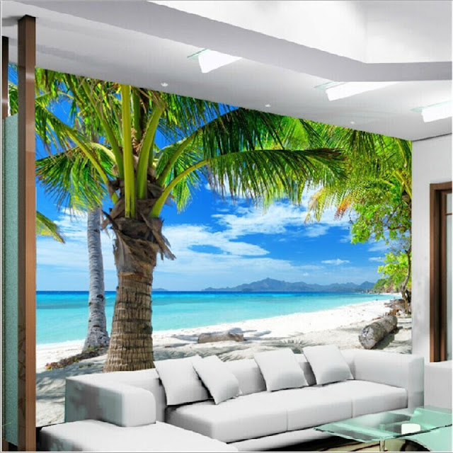 Mural wallpaper for home Modern 3D photo wallpaper tropical living room bedroom palm tree Beach Coconut water sky