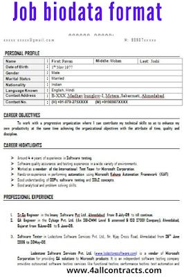 job biodata format doc