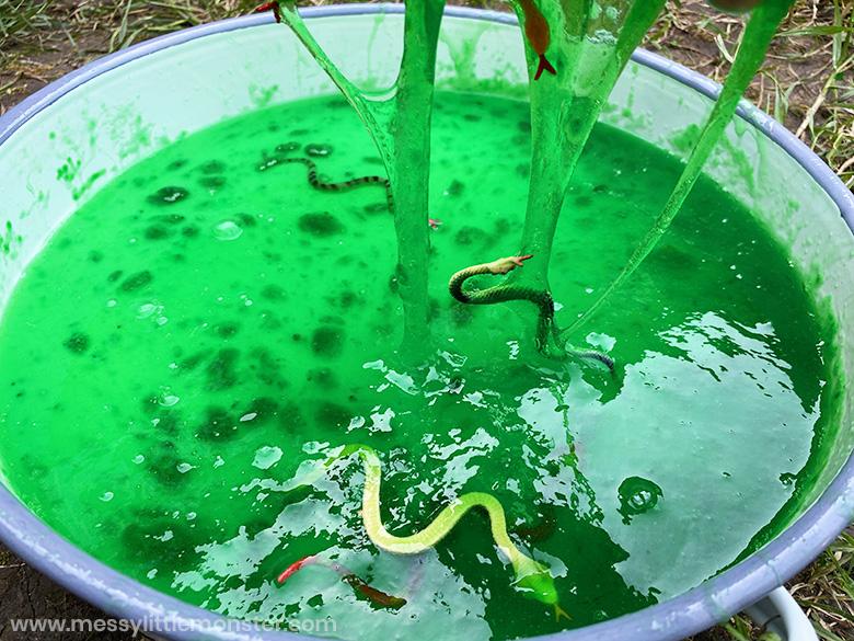 snake slime sensory bin