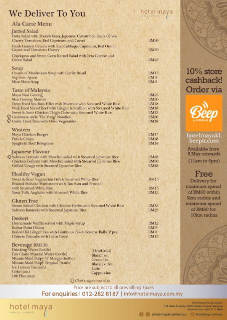 Hotel Maya Kuala Lumpur Food Delivery Menu