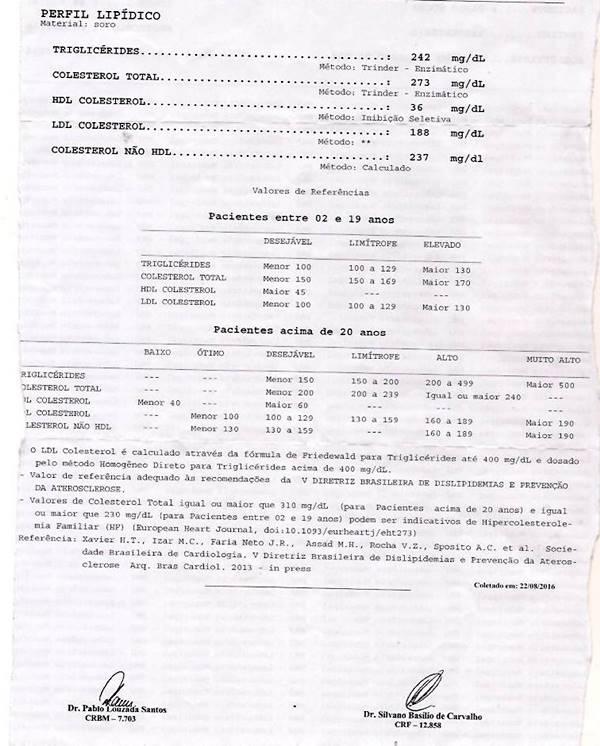 Resultados dos meus exames (Paulo Rocha) feito no dia 22 de agosto de 2016