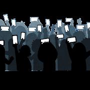 歓声をあげる観客のシルエットのイラスト(スマートフォン)