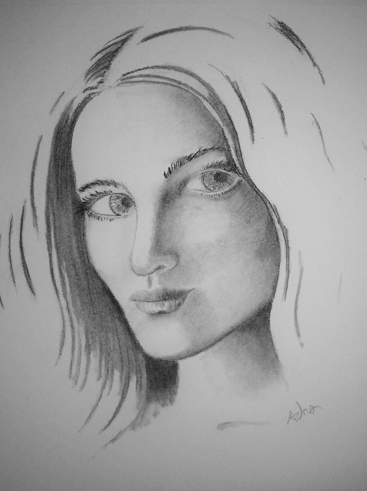 Portraits By Adron Charcoal And Pencil Portrait Of Woman