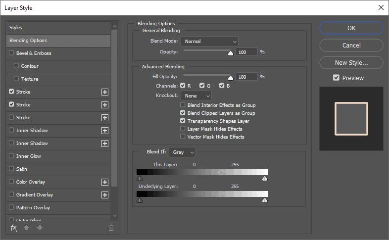 Tampilan Blending Options atau Layer Style Photoshop