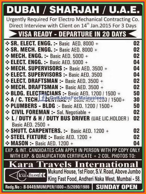Visa Ready For Dubai Sharjah Uae Job Vacancies Gulf Jobs For Malayalees