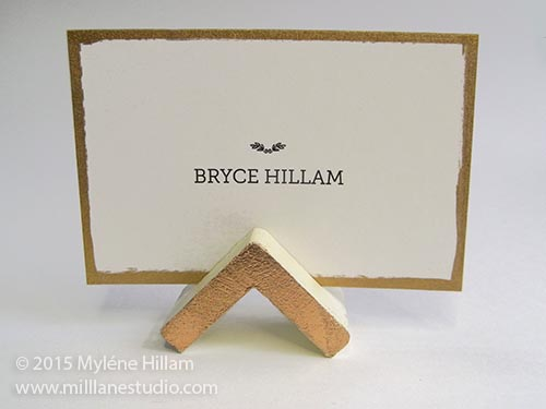 Triangle place card holder on the bridal table