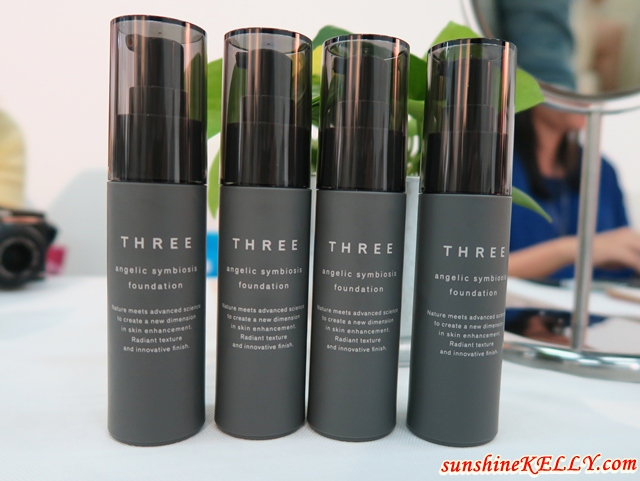 THREE Angelic Base Makeup, Symbiosis Foundation, and Radiant Wand Invisible Concealer