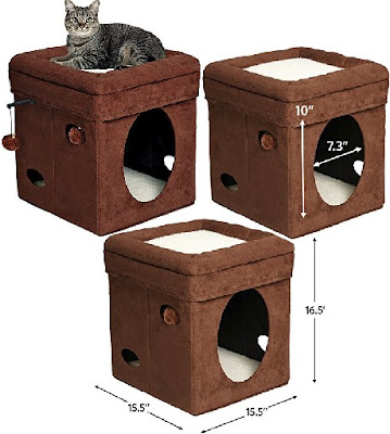 Cat Condos: Collapsible Brown Cube House for Pet Cats - MidWest