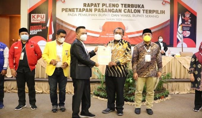 KPU Tetapkan Tatu-Panjdi Bupati dan Wakil Bupati Serang Terpilih