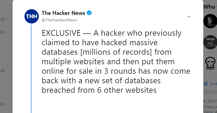 Round 4 — Hacker Puts 26 Million New Accounts Up For Sale On Dark Web