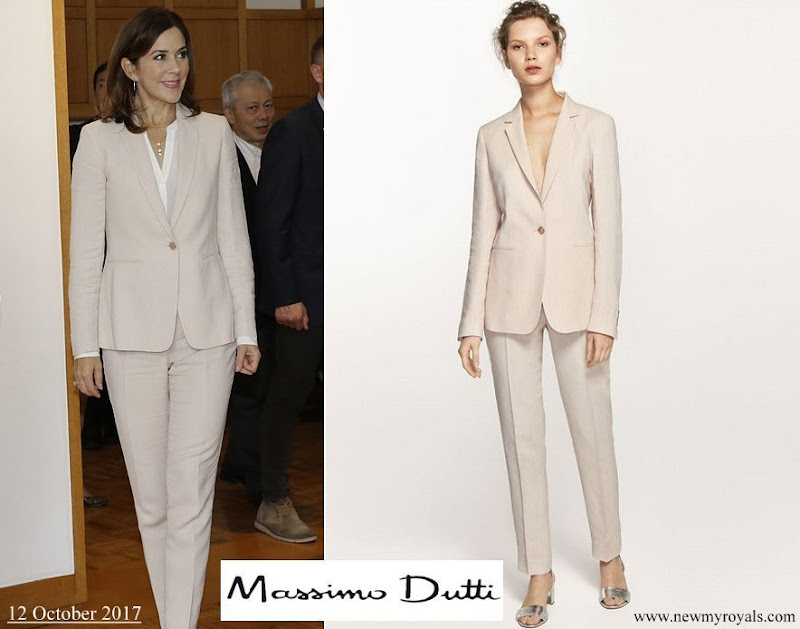 Crown Princess Mary wore Massimo Dutti slim-fit pink linen suit