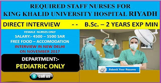 REQUIRED STAFF NURSES FOR KING KHALID UNIVERSITY HOSPITAL RIYADH