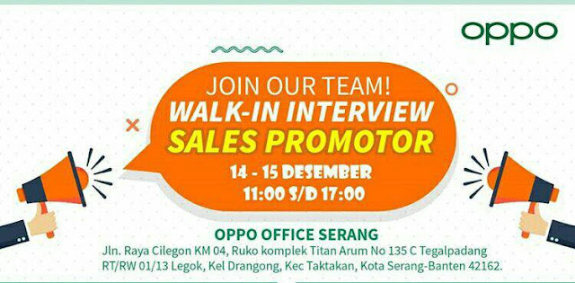 Walk In Interview Sales Promotor Oppo Office Serang