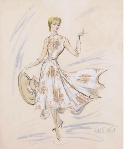 Costume sketch of Grace Kelly in flowered print dress from movie Rear Window. Gown by Edith Head