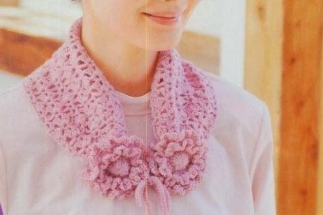 Bufanda Cuello 2 Flores Crochet Patron
