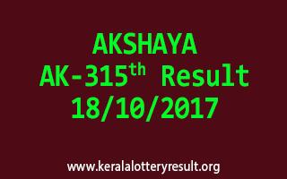 AKSHAYA Lottery AK 315 Results 18-10-2017