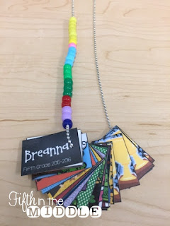 Students can add beads to their brag tag necklaces for other achievements, such as reading multiple books in a genre.