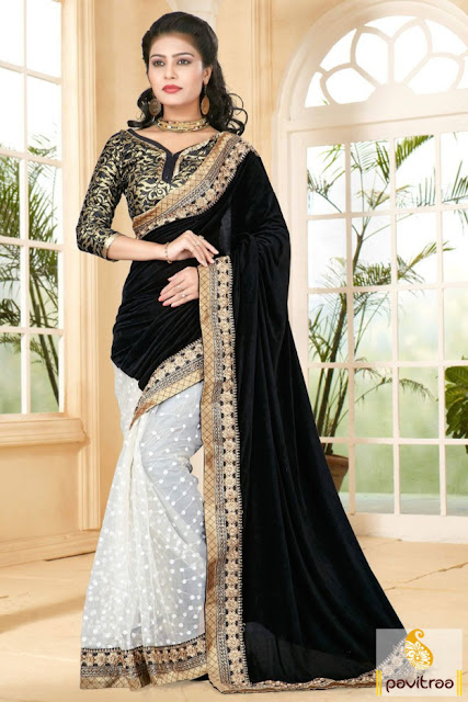 Diwali festival black and white velvet net party saree online with discount sale at pavitraa.in