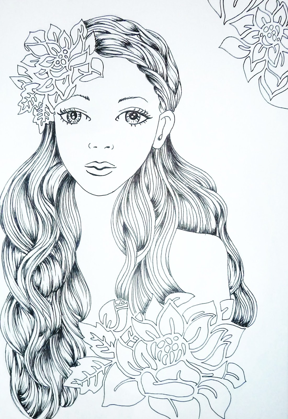 This is a photo of Playful Flower Girl Drawing
