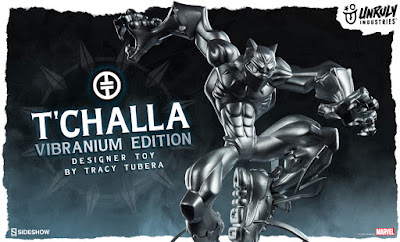 "Designer Con 2019 Exclusive Black Panther ""T'Challa"" Vibranium Edition Vinyl Figure by Tracy Tubera x Unruly Industries x Sideshow x Marvel"