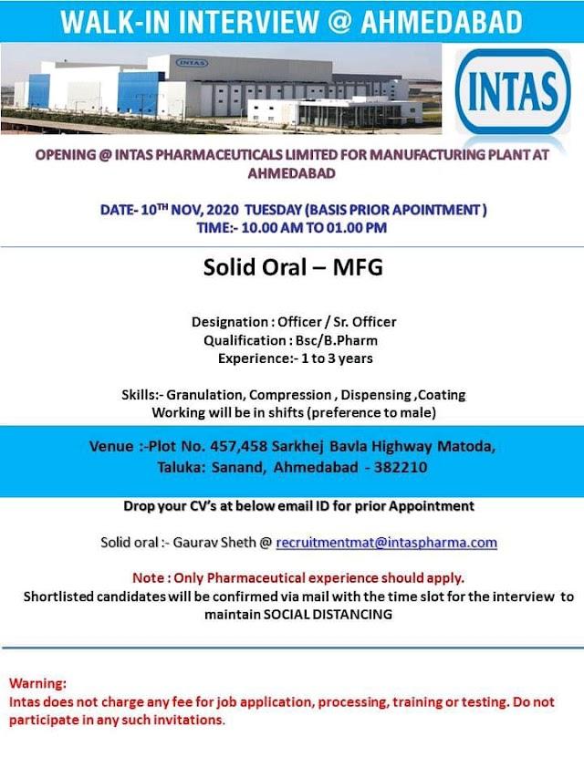 Intas Pharma | Walk-in interview OSD-Manufacturing/Formulation development on 10 Nov 2020 at Ahmedabad