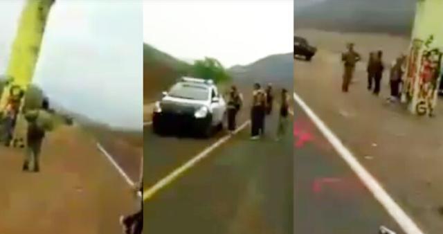 """VIDEO.- """"Puro Viagra aquí"""" se graban en Narcoreten en Aguililla, Michoacán cuidando que no entren los del CJNG, acompañados de Policías que los protegen"""