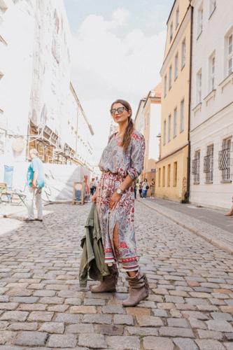 Sukienka boho,wiosenna stylizacja,moda po 30