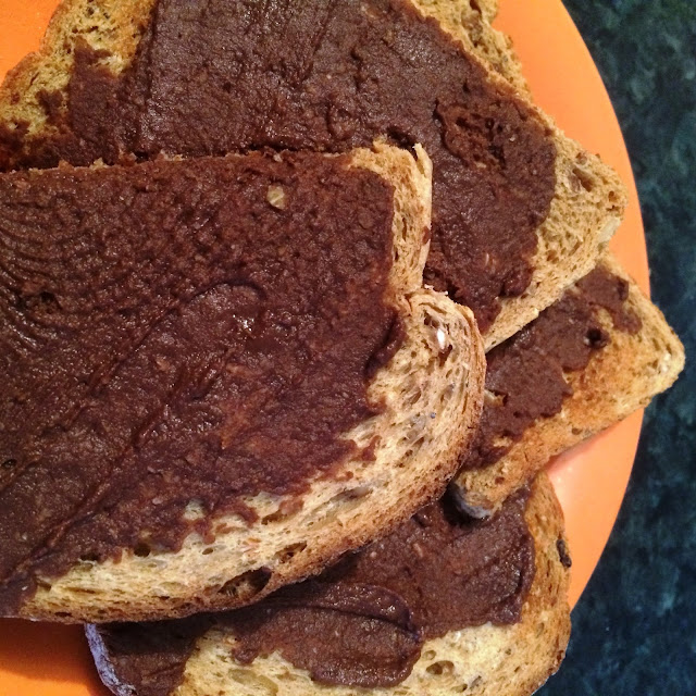 spread chocolate hummus on toast