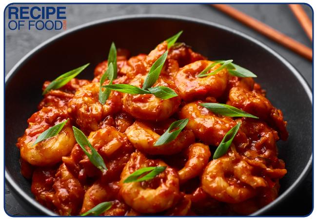 Schezwan Prawns (Prawns or Shrimps roasted in Schezwan Sauce)