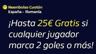 william hill Reembolso España vs Rumanía 18-11-2019
