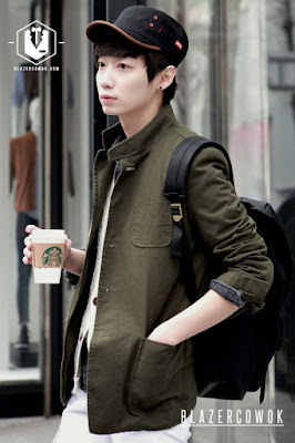 blazer cowok blazercowok.com jaket korean jas pria sk42 green b