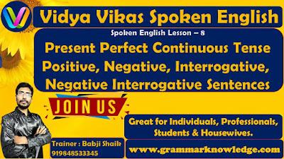Present Perfect Continuous Tense Positive, Negative