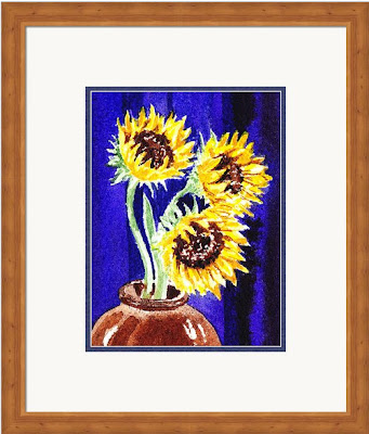 yellow blue floral still life