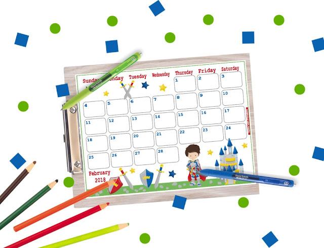 printable february 2018 planner, february calendar, planner printable, free planner, free printables, free calendar printables, calendar for boys, calender in Kawaii style, cute calendar, Happy with Printables calendar
