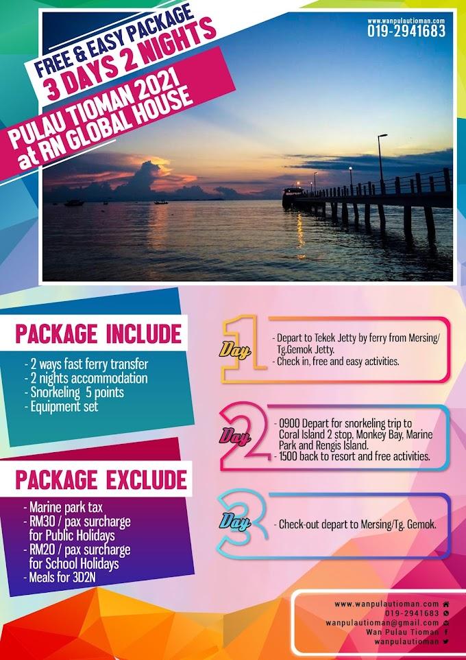 Pakej Percutian 3 Hari 2 Malam Free and Easy Ke Pulau Tioman 2021 - RN Global House ~ Pulau Tioman