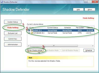 Klik Mode Setting - tips komputer aman dari virus