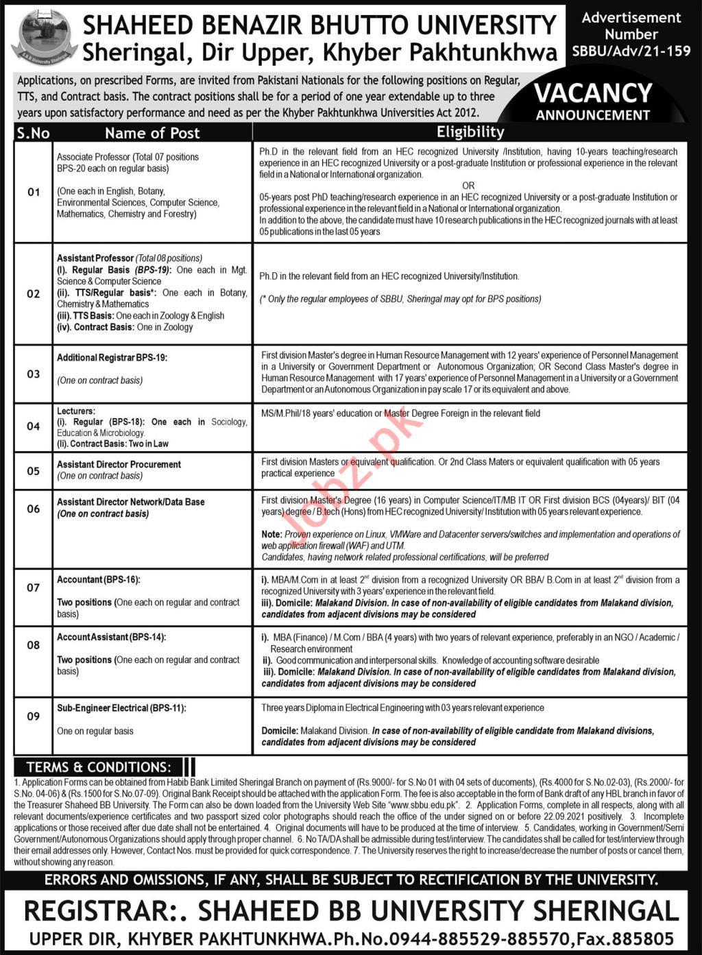 Jobs in Shaheed Benazir Bhutto University