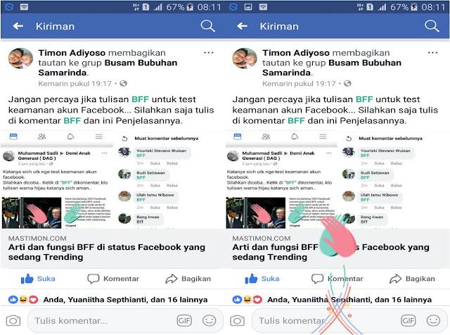 Tulisan BFF di status Facebook (FB) bukan untuk Cek Akun