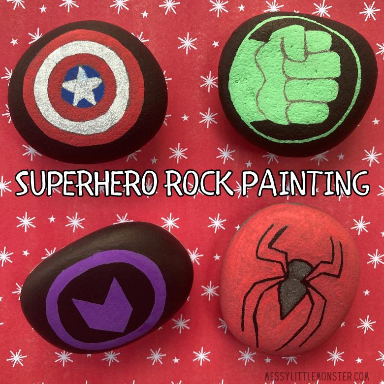 Superhero rock painting for kids