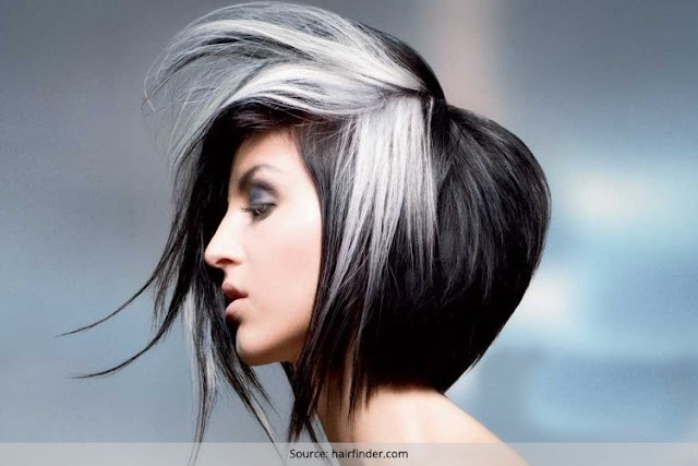 Two Tone Black and White Short Bob Hairstyle