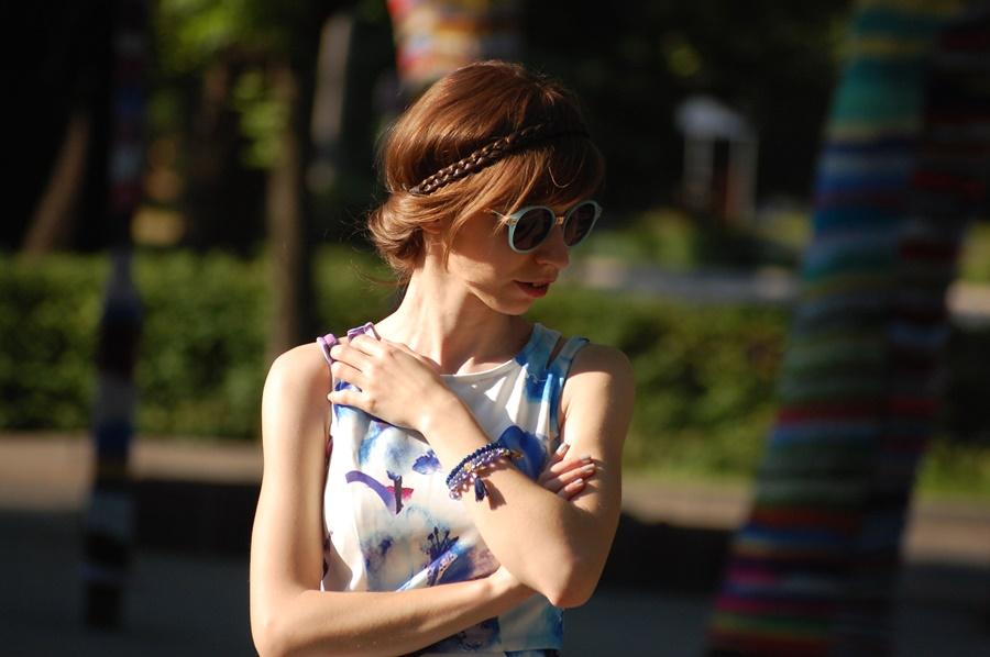 Weselny klimat | biało-błękitna sukienka