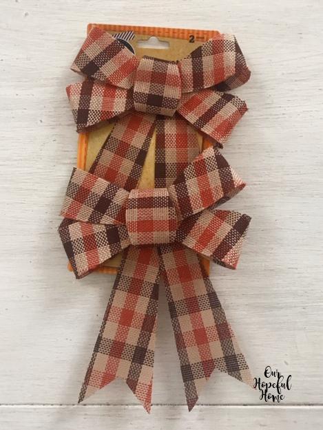 Dollar Tree orange brown plaid bows