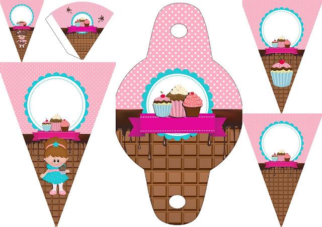 Chicas Haciendo Cupcakes: Imprimibles Gratis para Fiestas.