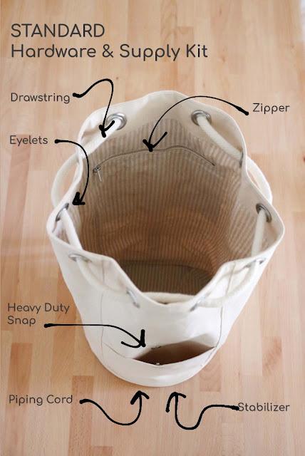 Wholecloth Patterns Logan Bag drawstring bucket backpack sewing pattern