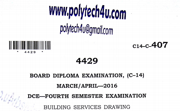 Sbtet Building Services Drawing Previous Question Paper c14 March/April 2016Sbtet Building Services Drawing Previous Question Paper c14 March/April 2016