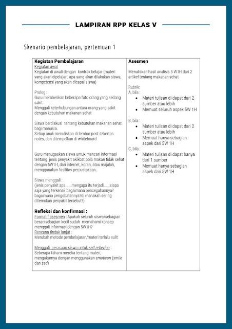Contoh Lampiran RPP Kelas V / Skenario pembelajaran, Pertemuan 1